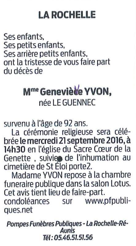 Deces De Madame Genevieve Yvon Nee Le Guennec 15 09 2016 Fr Fr